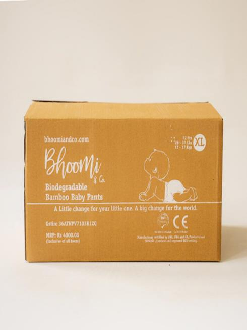 Bhoomi & Co Kids White & Natural Eco-friendly Disposable Diapers