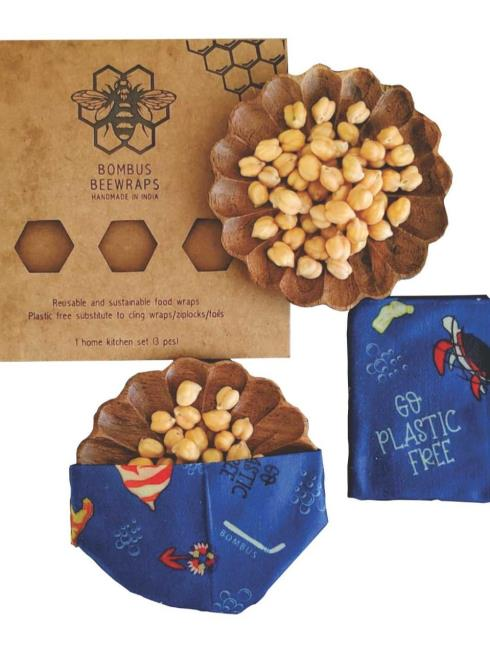 Bombus Beewraps Dining Red & Blue Bees wax wrap