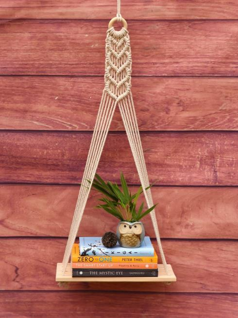 Indian Yards Decor Natural & Off White Wall Shelve
