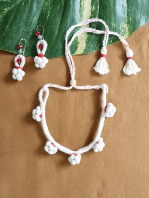 MORALFIBRE Women Red & Off White Jewellery Set