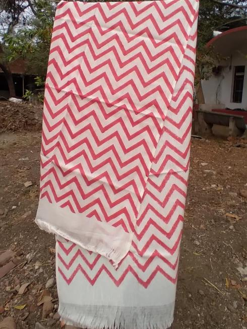Magan Khadi Lifestyle Accessories Red & White Stole