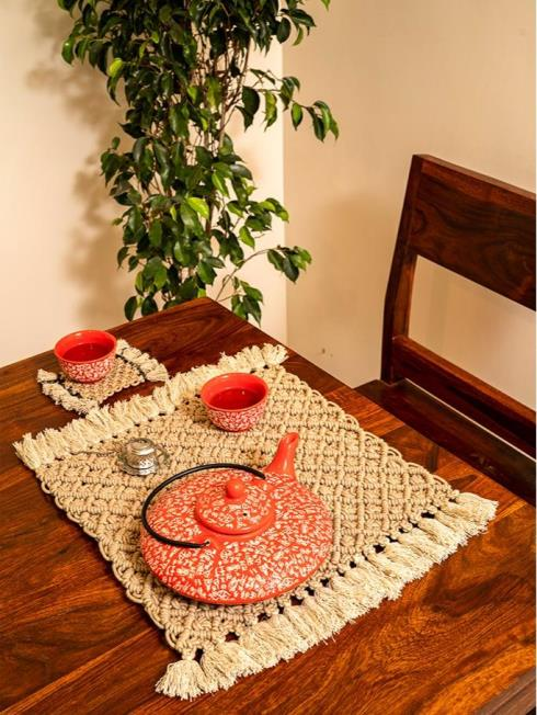 One O Eight Knots Furnishing Beige Table Placemat