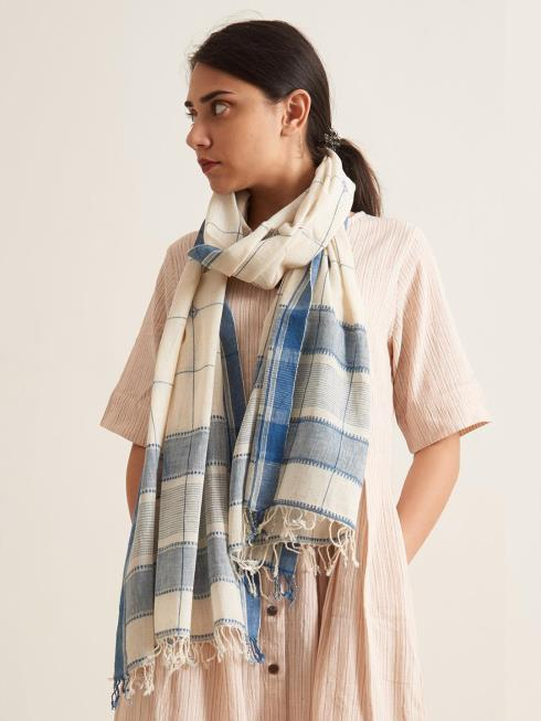 Patrah Lifestyle Accessories Blue & Off White Scarf