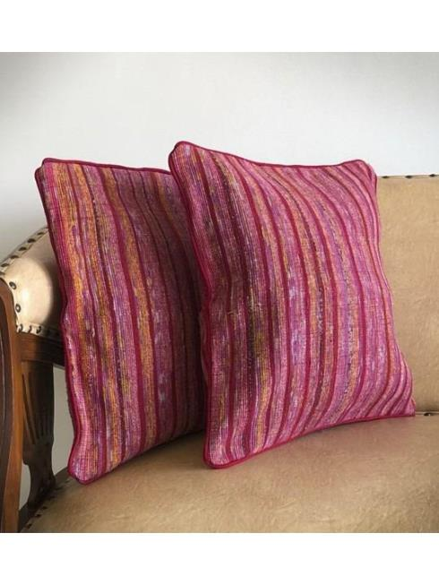 Rimagined Decor Maroon & Pink Cushion Cover