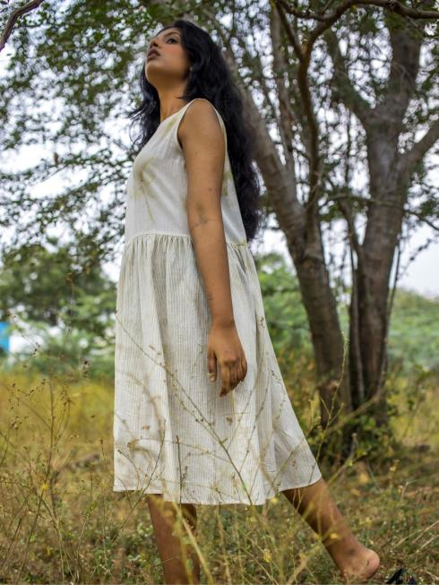 Tintory Women Natural & Off White Dress